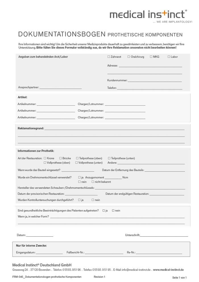Dokumentationsbogen Prothetische Komponenten