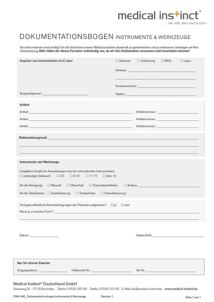 Dokumentationsbogen Instrumente und Werkzeuge