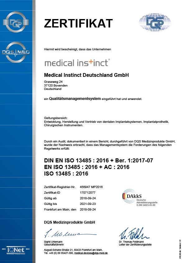 Medical Instinct® Qualitätsmanagement Zertifikat