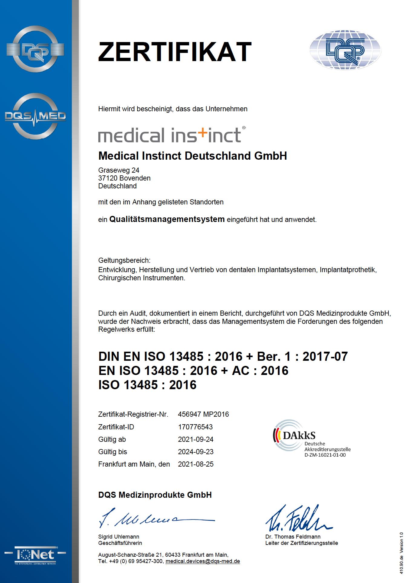 Medical Instinct® Qualitätsmanagement Zertifikat