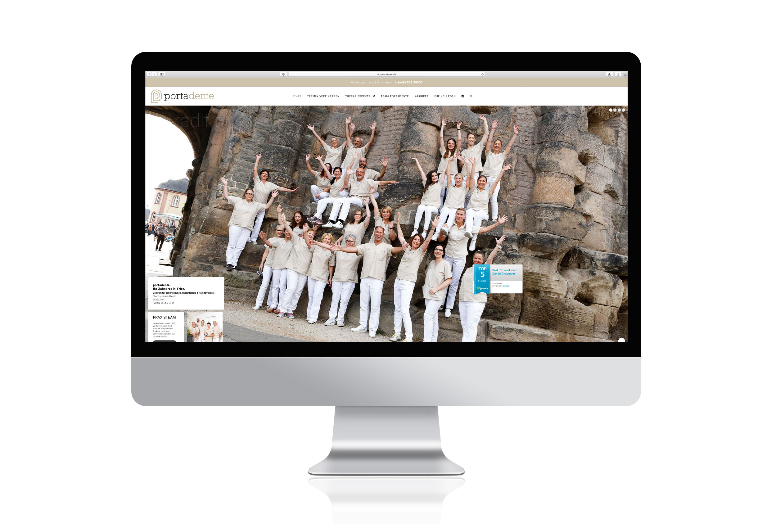 Website Portadente - Praxisteam vor der Porta Nigra