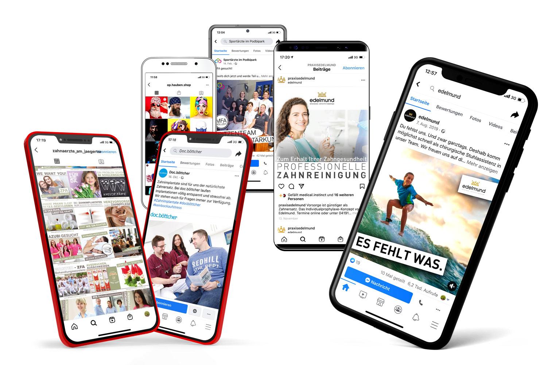 Praxismarketing facebook und instagram auf Handy