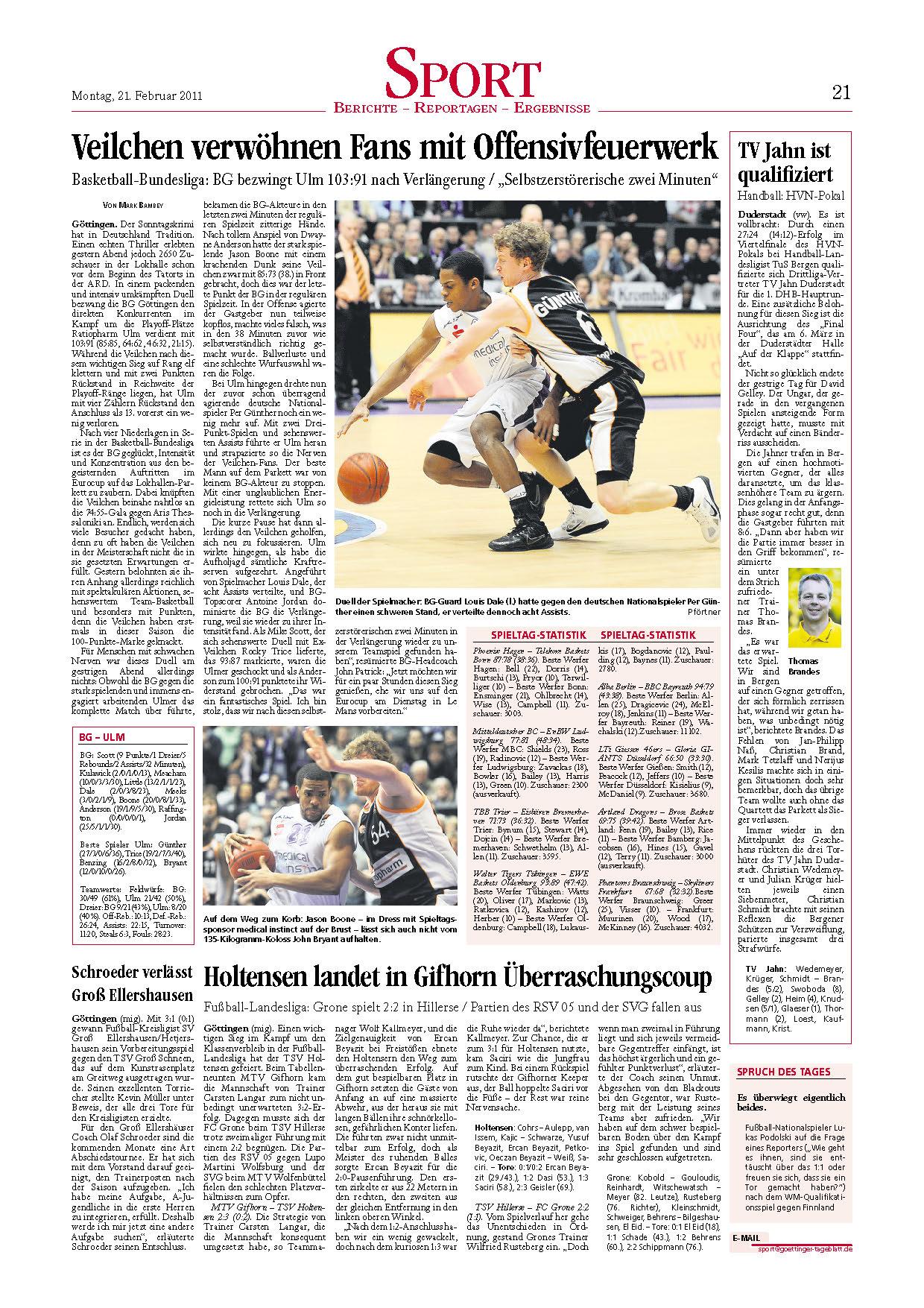 Goettinger Tageblatt - Verlängerungskrimi – BG bezwingt Ulm