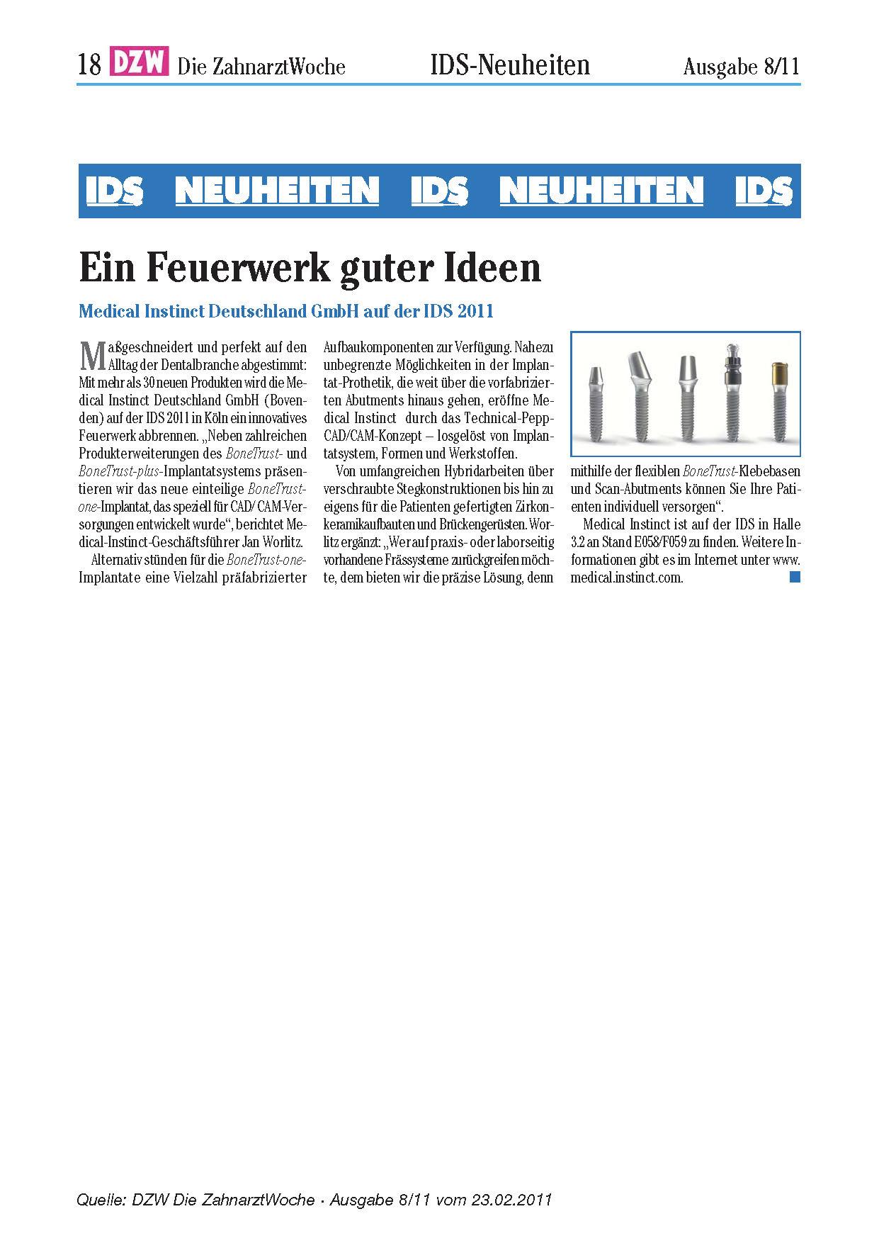 IDS - Ein Feuerwerk Guter Ideen - DZW Ausgabe 8 2011