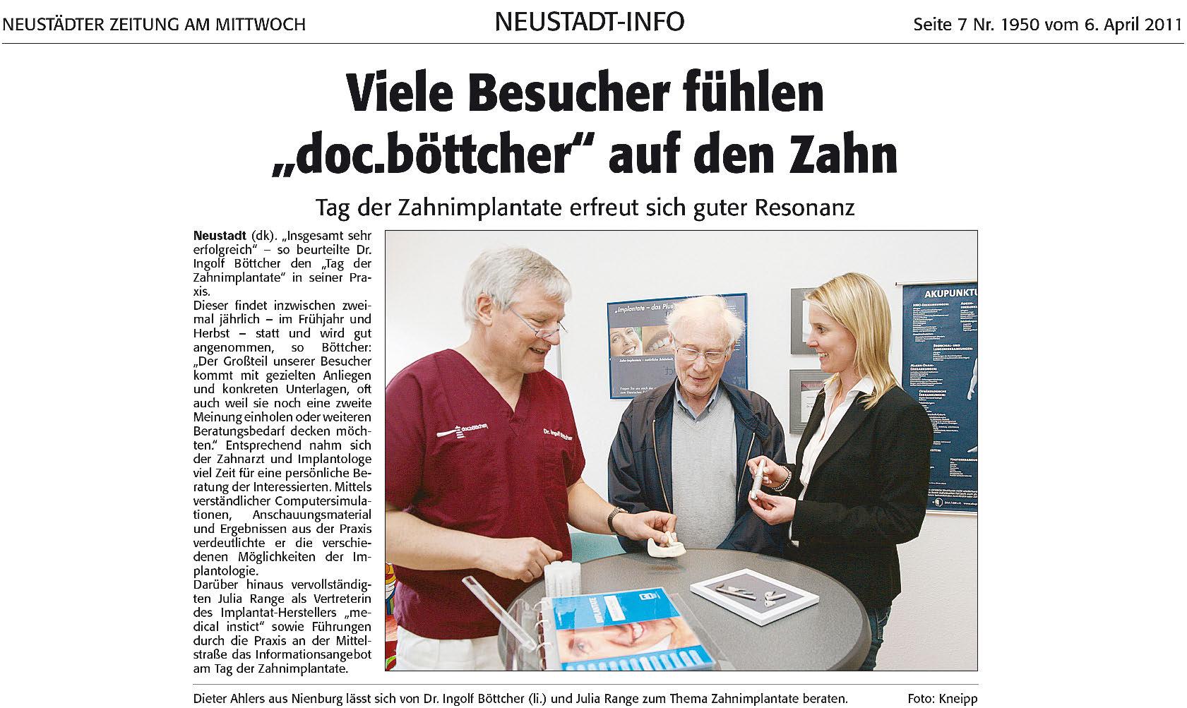 Tag Der Zahnimplantate® Doc.boettcher - Neustätter Zeitung