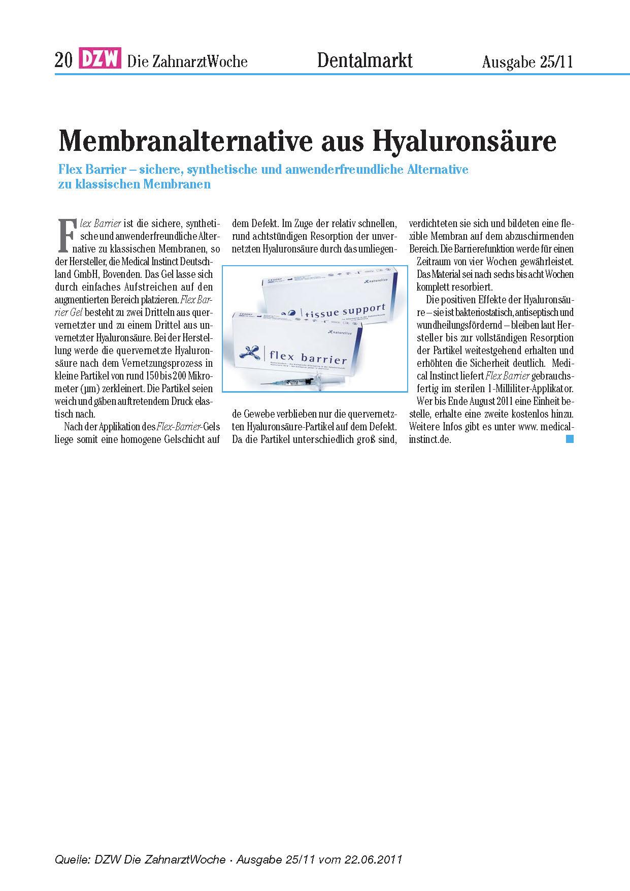 DZW - Membranalternative aus Hyaluronsäure / DZW Ausgabe 25 2011
