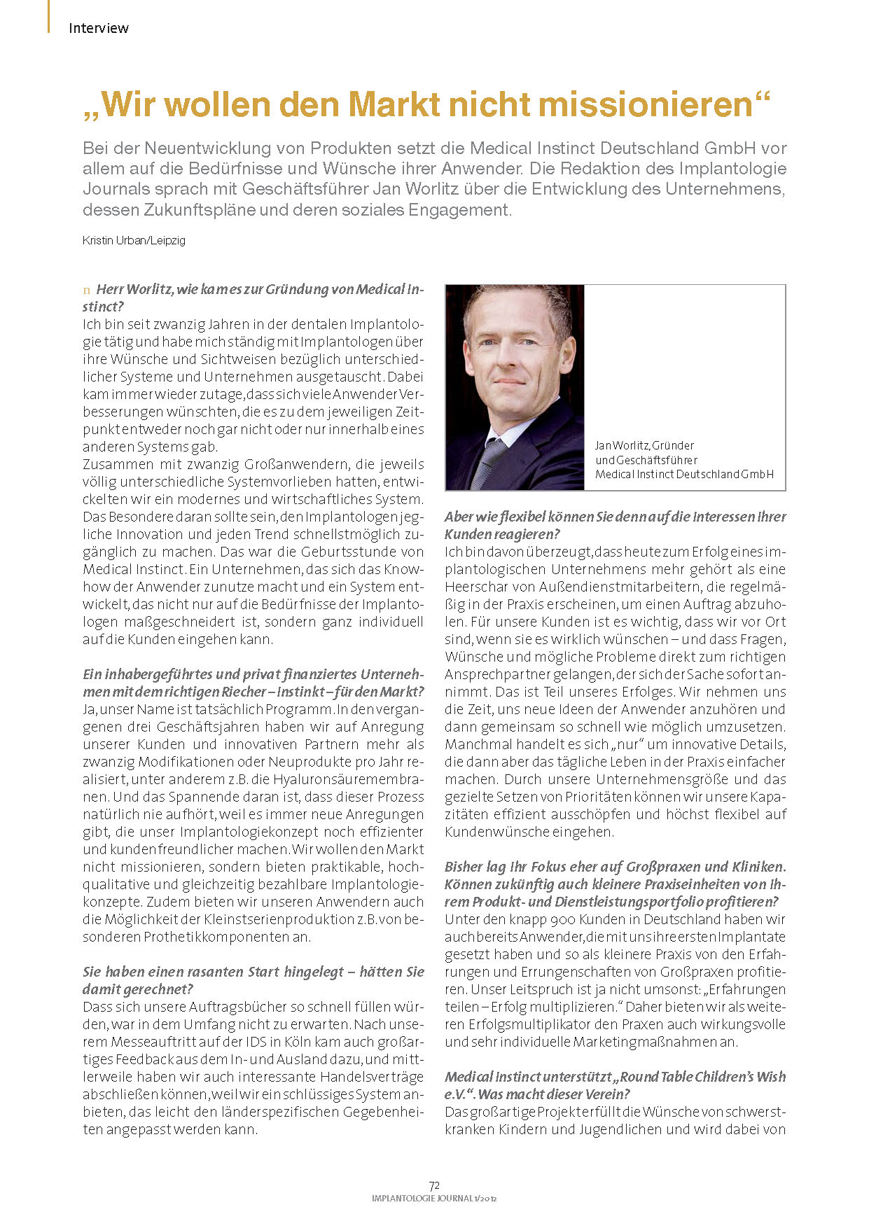 Implantologie Journal - Interview Jan Worlitz