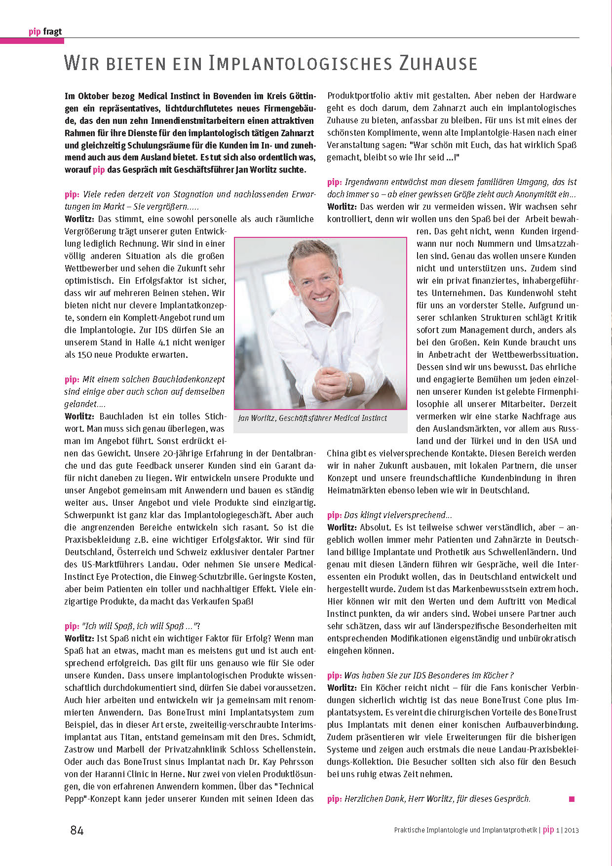 Interview Jan Worlitz, Medical Instinct® - PIP 01 2013