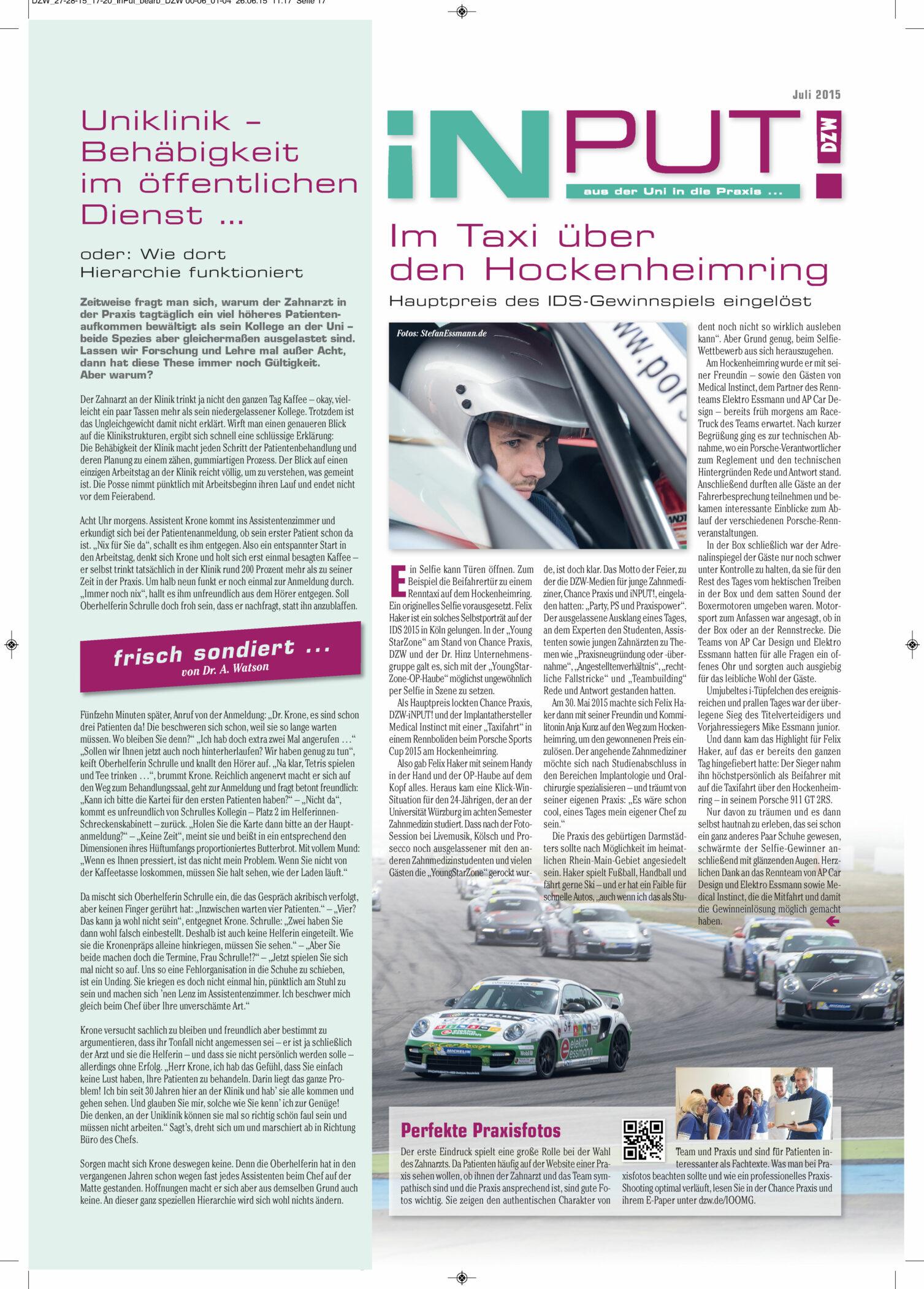 Im Taxi Über Den Hockenheimring - Hauptpreis IDS-Gewinnspiel