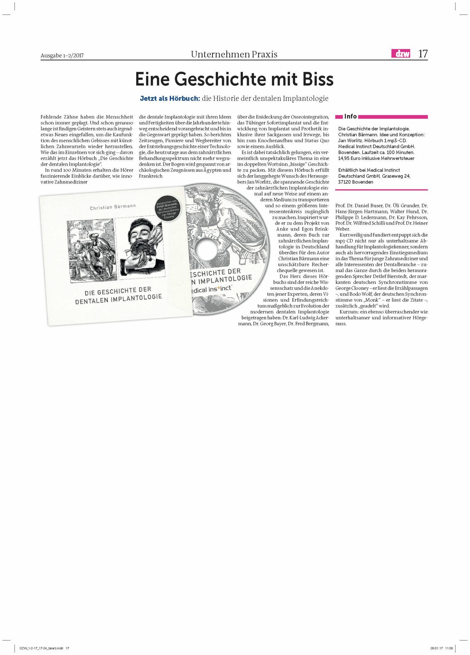 """DZW Hörbuch """"Die Geschichte der Implantologie"""""""