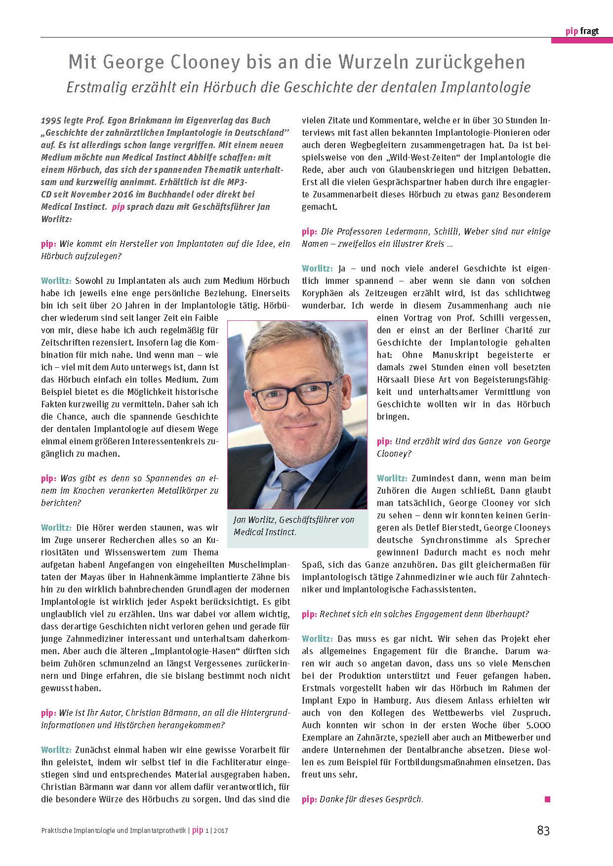 Pip Fragt Jan Worlitz - Hörbuch Die Geschichte der Implantologie