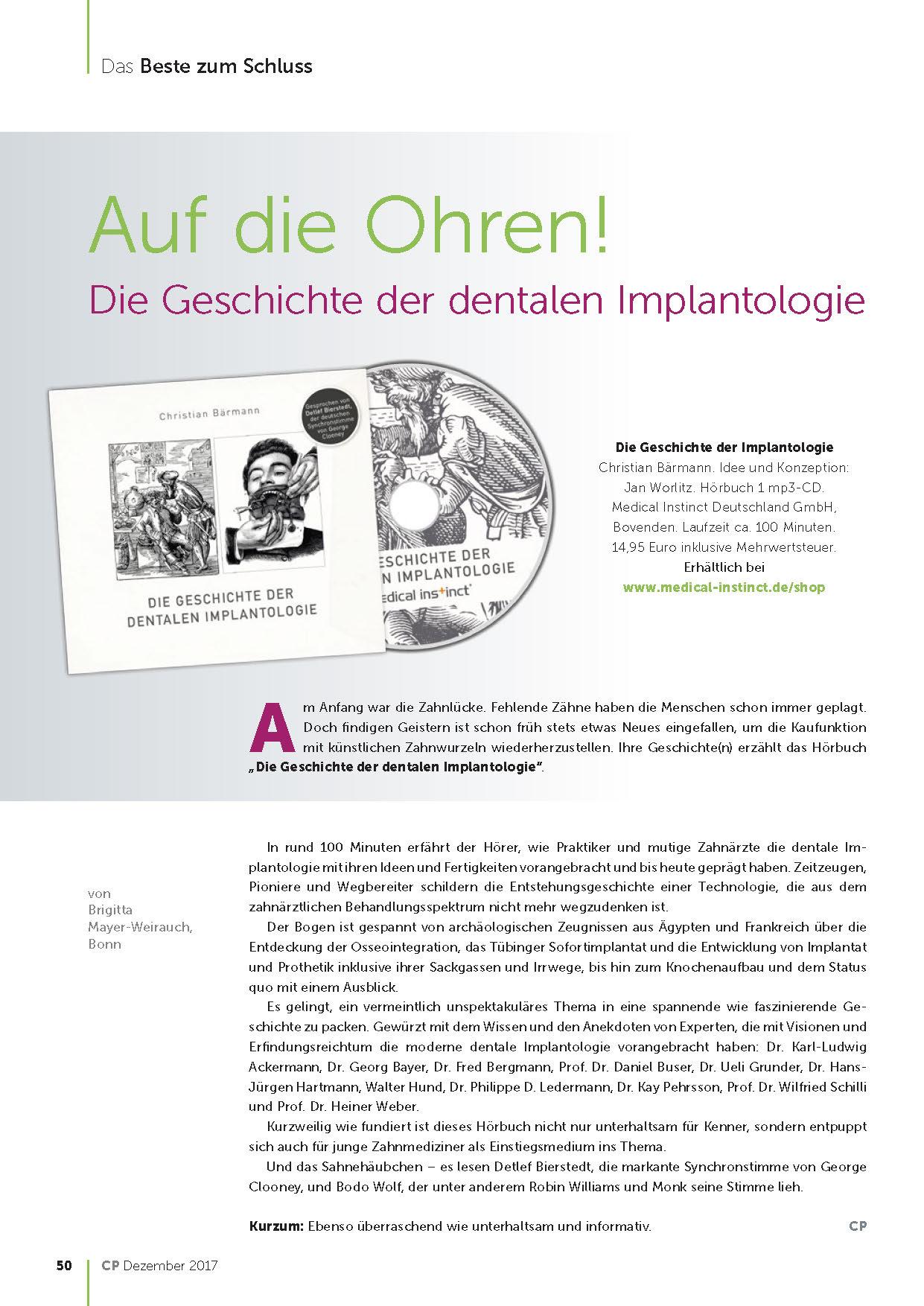 """CP Artikel - Hörbuch """"Die Geschichte der Implantologie"""""""