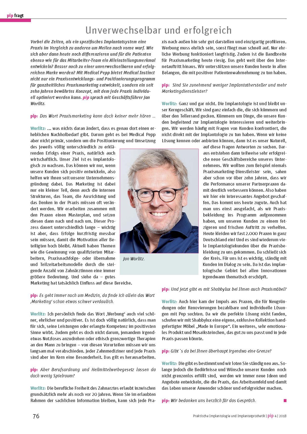 PIP Artikel Jan Worlitz - Praxismarketing, Praxisbekleidung, Praxismöbel