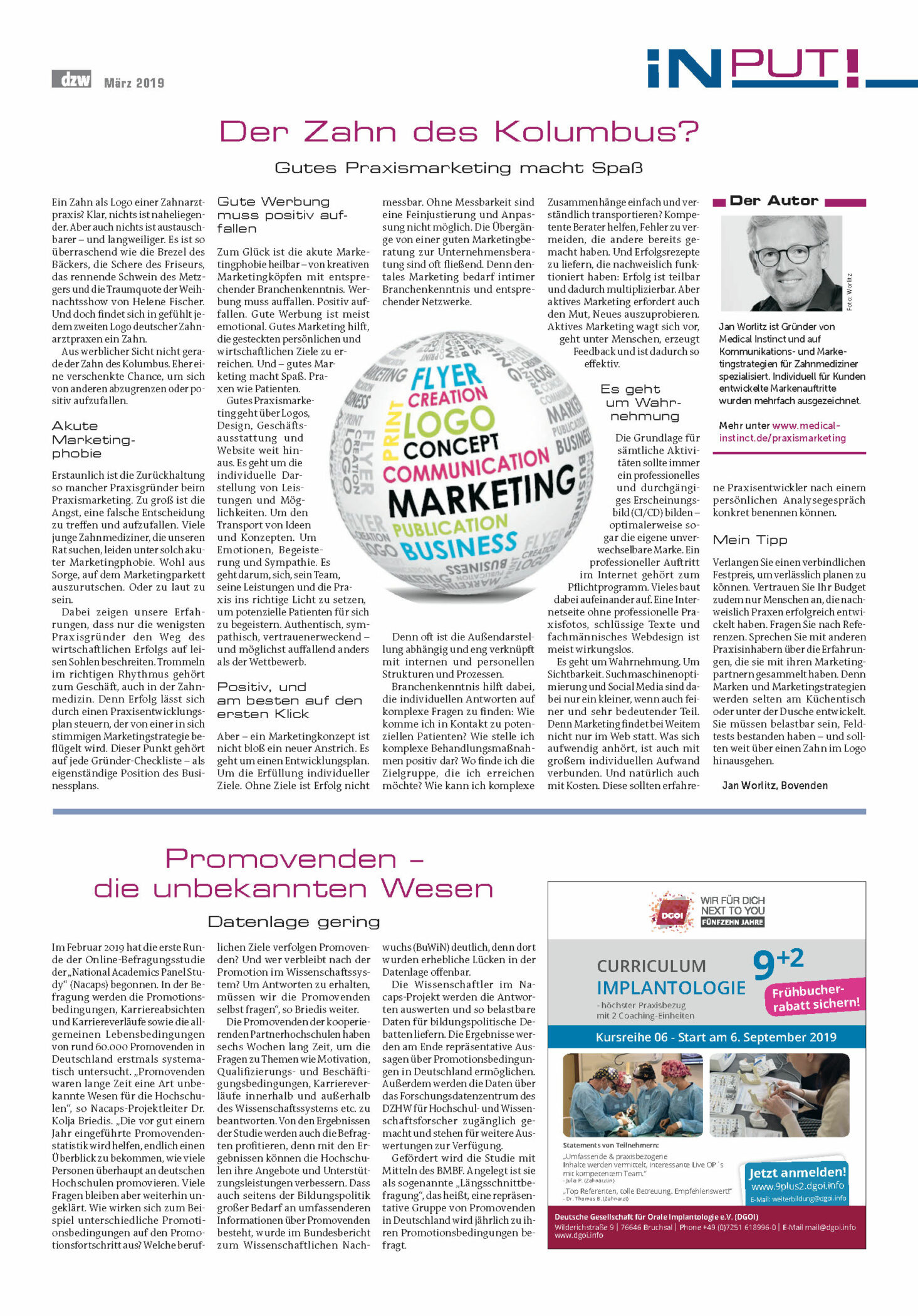 Medical Instinct® Artikel DZW Jan Worlitz - Praxismarketing